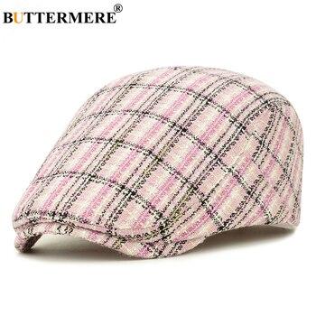 BUTTERMERE Women Beret Pink Plaid Flat Cap Ladies Ivy Spring Designer Brand Adjustable 2020 New Hat