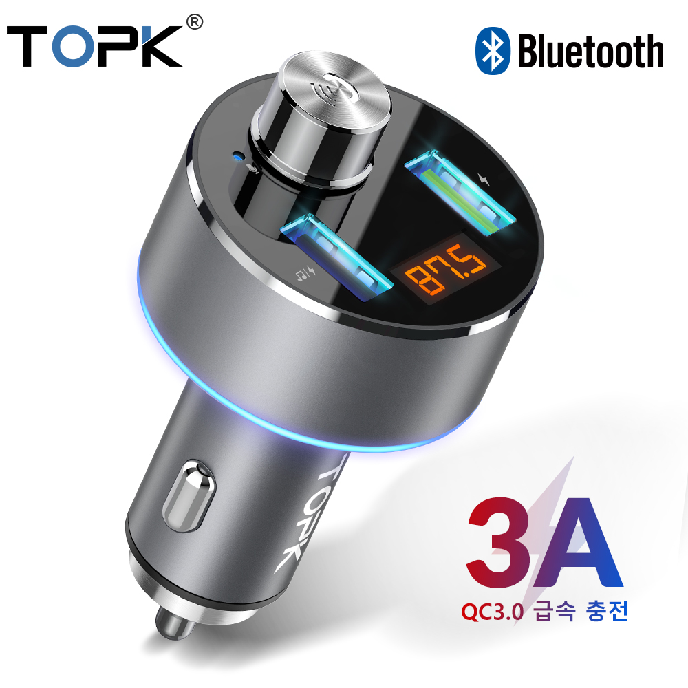 TOPK Mp3-Player Car-Charger Handsfree QC3.0 Bluetooth Wireless Fm-Transmitter USB Dual-Usb