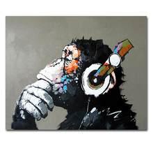 Ręcznie malowane fajne małpa obrazy olejne na płótnie Wall Art do salonu wystrój domu zwierzęta dla dzieci pokój rozciągnięty gotowy do powieszenia