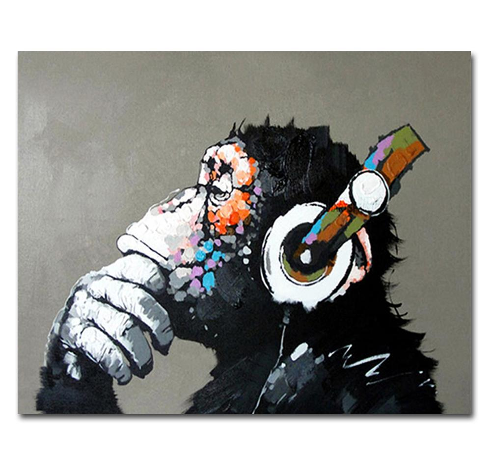 Hand Painted Cool Monkey Canvas Oil Paintings Wall Art for Living Room Home Wall Decor Animals Pictures for Kids Room Art Decor