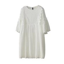 Fashion New Korean Loose Dress O-neck Women Clothes Plus Size White Solid Color Boho 2019 Five Sleeve