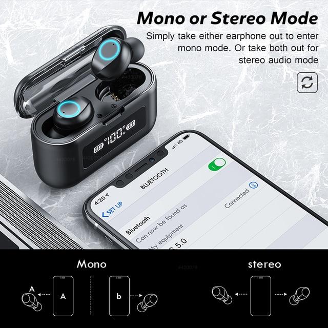 Auriculares inalámbricos Bluetooth con micrófono, Auriculares deportivos, inalámbricos, a prueba de agua, auriculares con Control táctil, auriculares de música para teléfono