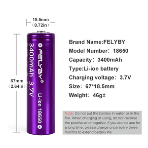 Image 2 - HOT!FELYBY New Original 18650 Battery 3.7V 3400mAh 2 10pcs High Capacity Lithium Rechargeable Batteries