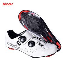 Boodun 2020 nowe obuwie rowerowe skórzane ultralekkie buty rowerowe z włókna węglowego antypoślizgowe odporne na zużycie profesjonalne buty blokujące tanie tanio Skóra Dla dorosłych Oddychające Poliester Średnie (b m) Gumką Cycling shoesJ 001291 Pasuje prawda na wymiar weź swój normalny rozmiar