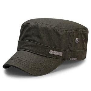 Image 1 - Bahar büyük kafa adam büyük boy ordu düz kap erkekler yaz pamuk artı boyutu örgü askeri şapka 55 60cm 60 65cm