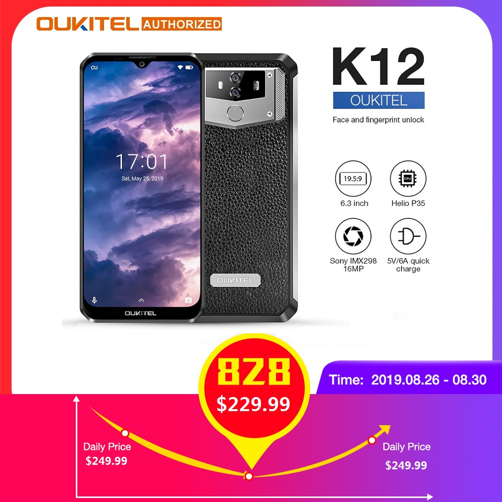 OUKITEL K12 10000mAh 5 V/6A Charge rapide 4G LTE Smartphone 6.3 FHD + 19.5: 5 Waterdrop Android 9.0 Octa Core téléphone portable 6GB 64GB
