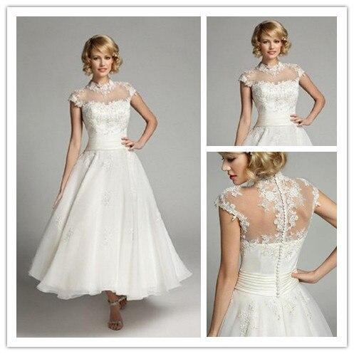High Neck Tea Length Lace Short Cap Sleeve Bridal Gown With See Through Back Vestido De Noiva Curto 2018 Bridesmaid Dresses