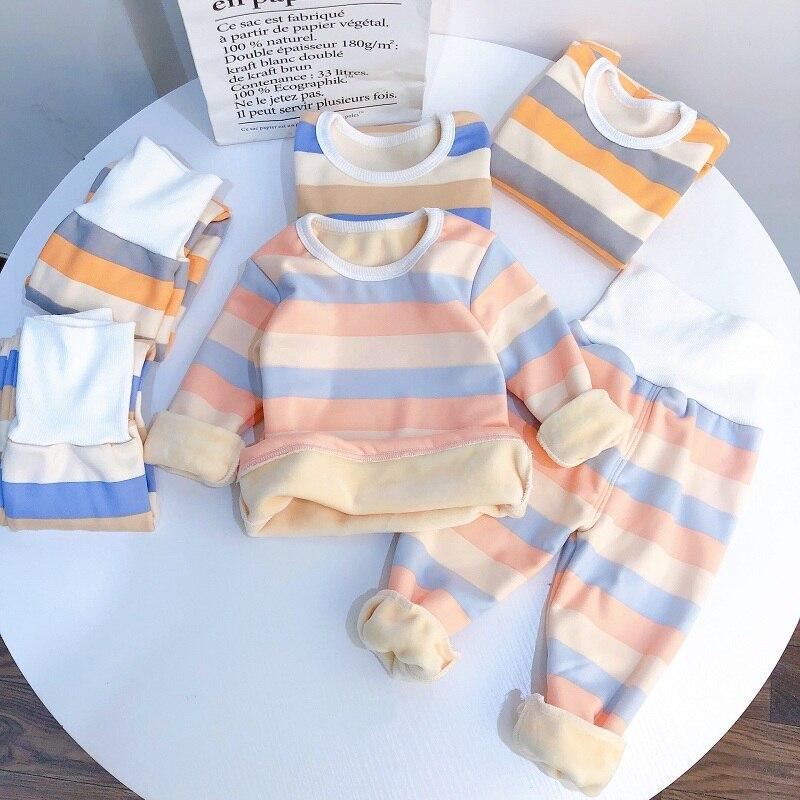 stripe pajamas set long sleeve tshirt+pant kids boy girl pijamas clothes high waist sleepwear Toddler pyjamas children winter 1