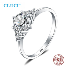 цена на CLUCI Real Silver 925 Zircon Ring Gift Jewelry for Women Classic Wedding Engagement Ring