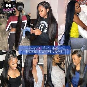 Rucycat 8-40 дюймов перуанские человеческие волосы пряди прямые 100% Remy пряди волос 1/3/4/лот