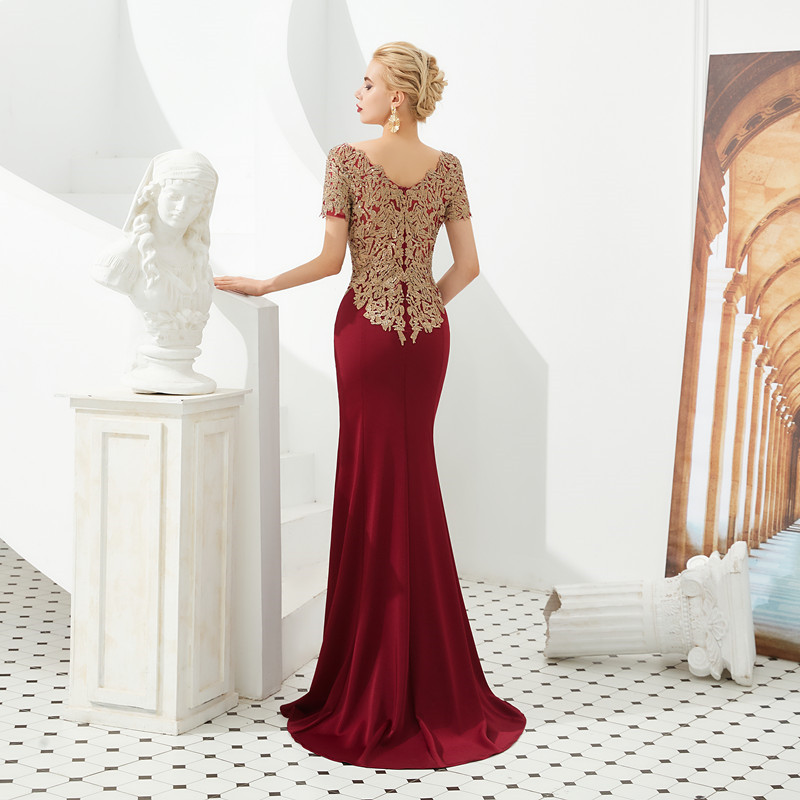 Burgundy Appliques Lace Long Bridesmaid Dress