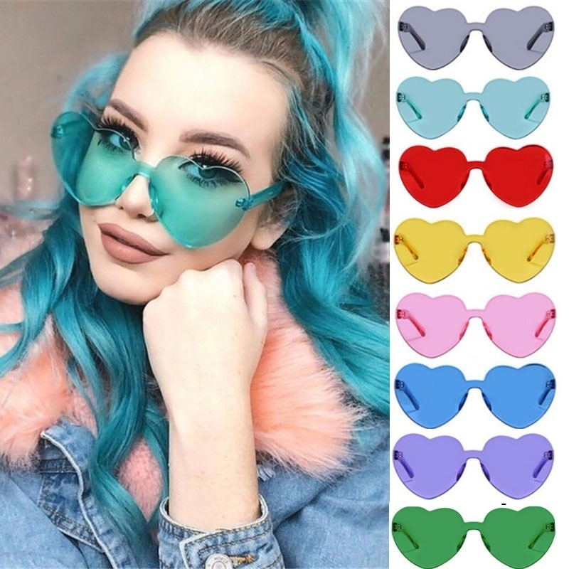 Love Heart Shaped Sunglasses Women 2018 Rimless Frame Tint Clear Lens Colorful Sunglasses Red Pink Yellow Shades