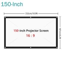 Prático tela de filme de tela de projeção de tela de projeção de 150 polegadas hd dobrável anti-vinco proyectores para o cinema em casa