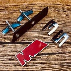Przedni emblemat na maskownicę uchwyt do BMW M M1 M2 M3 M4 M5 M6 M7 M8 Logo Car Styling M kolor naklejana etykieta matowy czarny błyszczący chrom