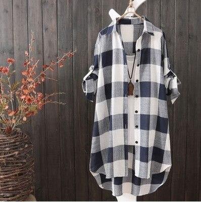 Summer Autumn Fashion Oversized 5xl Long Plaid Shirt Women Chic Checked Blouse Long Sleeve Female Loose Casual Shirts  Blusas 7