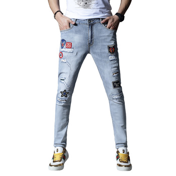New skinny jeans men  ripped jeans for  men embroidery stretch pants  trousers cotton hip hop Summer Spring  light blue hot sale 2017 new arrival spring fashion men jeans famous brand blue skinny denim ripped jeans for men cotton biker jeans hombre