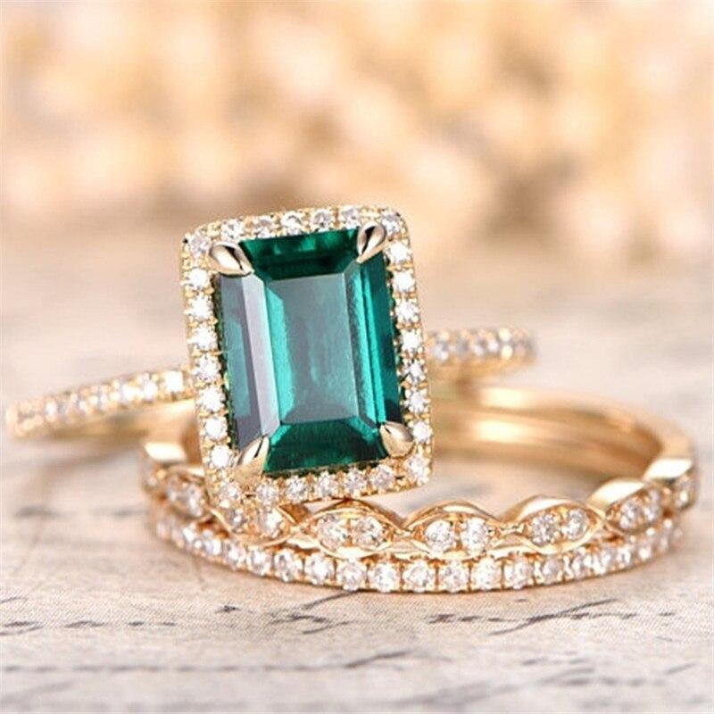 FDLK 2 шт./компл. женский зеленый кристалл квадратное обручальное кольцо невесты набор обручальное кольцо оптовая продажа