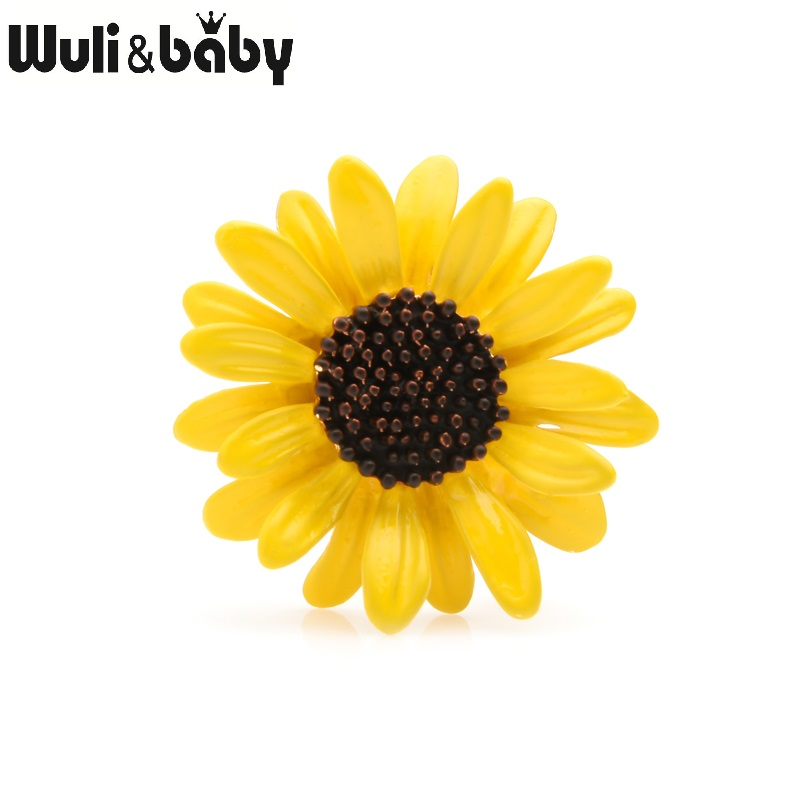 Wuli amp baby Yellow Daisy Brooch Pins Women Alloy Sunflower Enamel Brooches Mom 39 s Gifts 2019 Trenday Jewelry in Brooches from Jewelry amp Accessories