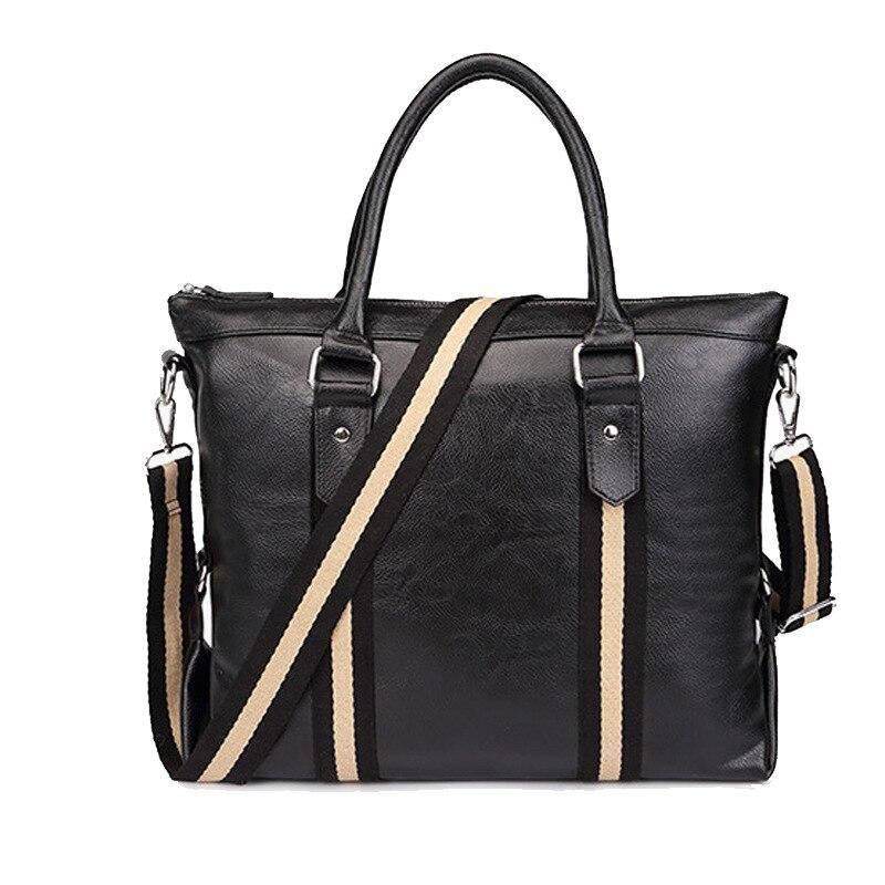 Men's Business Office Computer Laptop Briefcase Brand PU Leather Handbag Solid Striped Shoulder Bags Women Vintage Tote Black