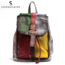 Sc vinatge mochila feminina de couro legítimo, cor aleatória, bolsa de ombro, aba grande, mochila escolar