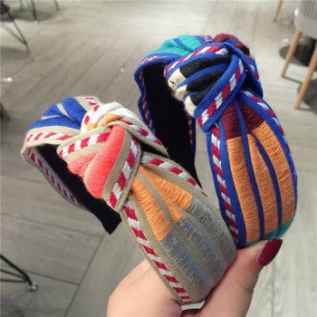 Colorful Embroidery Flower Hairbands For Women Korea Hair Accessories Knot Hair Band Crown Flower Headbands Head Wrap ms plaid knot headbands for women lace headband korea hair accessories hair band flower crown hairbands head wrap