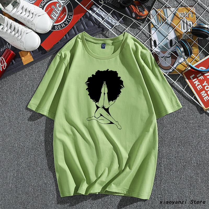 Afro Woman Praying Print Women Tshirt Cotton Casual Funny T Shirt For Young Lady Girl Top Tee Plus Size OT-459