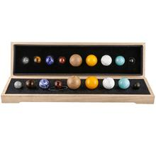 TUMBEELLUWA modelo de sistema Solar de planetas, adornos de cristal, decoración de escritorio para el hogar, Bola de esfera de piedras preciosas de Chakra con Base de madera para curación