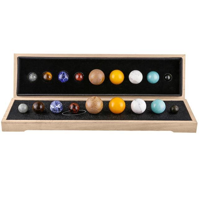 نموذج النظام الشمسي للكواكب من TUMBEELLUWA مكتب الحلي الكريستالية ديكور المنزل شقرا للأحجار الكريمة الكرة الأرضية مع قاعدة خشبية للشفاء