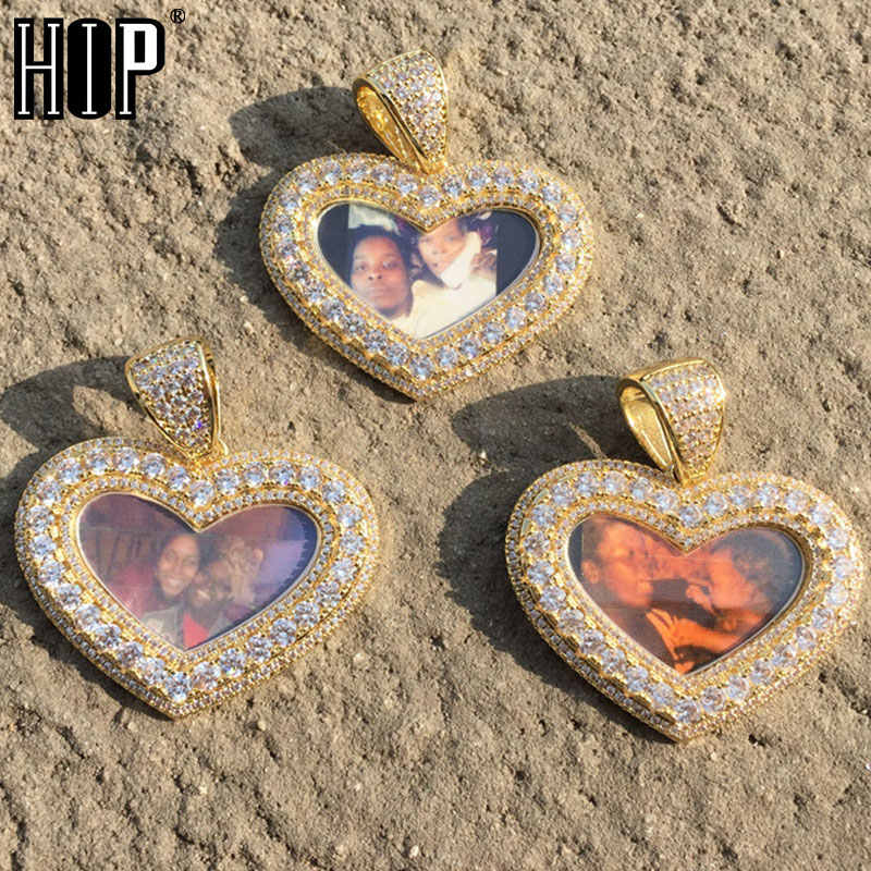 Hip Hop Love shape Iced Out Bling Custom Made Photo Cubic Zircon Necklace & Pendant For Men Jewelry With Tennis Chain