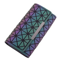Womens new wallet 30% geometric diamond cell phone bag colorful luminous bills clip card