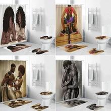 Sevgi dolu çift afrika duş perdesi tuvalet kapak banyo Mat seti Afro sevgilisi banyo perdeleri kaymaz halı küvet ev dekor