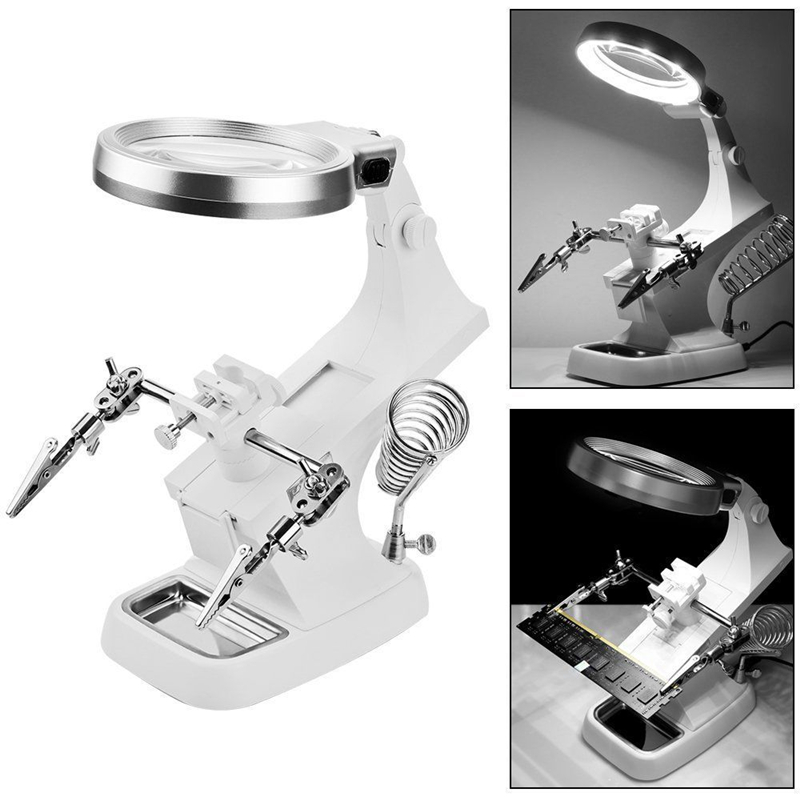 3X 4 5X Welding Magnifying Glass LED Loupe Magnifier Alligator Clip Holder Clamp Helping Hand Soldering Iron Repair Tools
