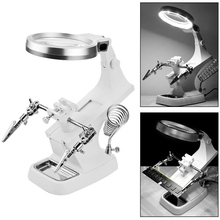 3X/4.5X Welding Magnifying Glass LED Loupe Magnifier Alligator Clip Holder Clamp Helping Hand Soldering Iron Repair Tools