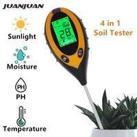 전문 토양 PH 미터 4 1 토양 온도 정원 식물에 대 한 태양 수 분 PH 미터 테스터 꽃 LCD 디스플레이 30% 할인|PH 지수|도구 -