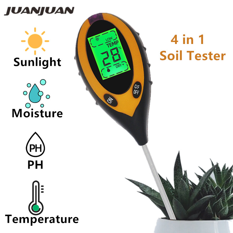 Professional Soil PH Meter 4 In 1 Soil Temperature Solar Moisture PH Meter Tester For Garden Plants Flowers LCD Display 30% Off