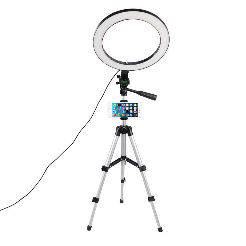 Anello di Luce LED Della Macchina Fotografica Fotografia Anulare Lampada Studio Illuminazione Anulare per Youtube Trucco Telefono Selfie con Treppiede Supporto Del Telefono Clip