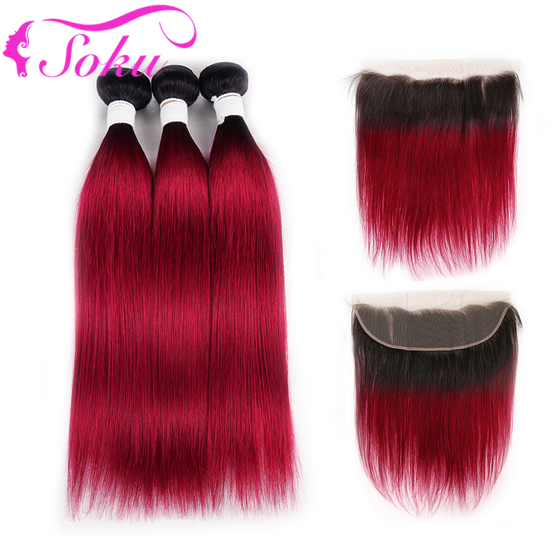 99J/Burgundy Brazilian Straight Human Hair Bundles With Frontal 13x4 SOKU 3 Bundles With Closure Non-Remy Hair Extension