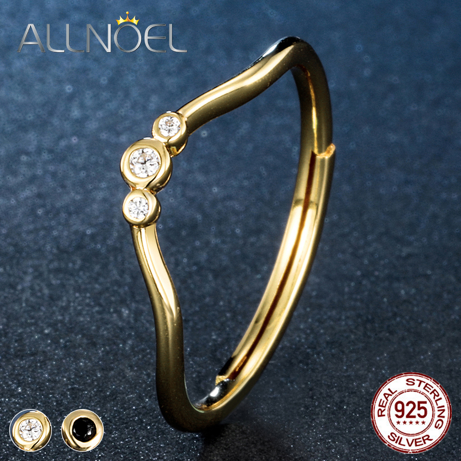 ALLNOEL Women 925 Sterling Silver Rings  Black White Zircon Diamond Adjustable Rings 14K Gold Fine Jewelry Not Stainless Steel  (1)