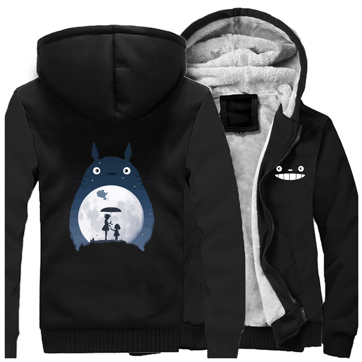 Image 4 - Tonari No Totoro Men Thick Hoodies Sweatshirts Fleece Warm Zipper Coa Vintage Japanese Anime Jacket Streetwear Winter Hoodie-in Hoodies & Sweatshirts from Men's Clothing