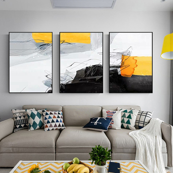 Paintinghand-painted Black And White Ash Triple Modern Living Room Sofa Backdrop Decorative Painting Paintings Restaurant