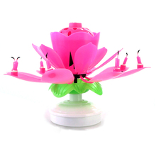 Cake Music Sparkle Topper Rotating Candles Beautiful Blossom Lotus Flower Candle Birthday Party Decoration 6.5* Height 11cm