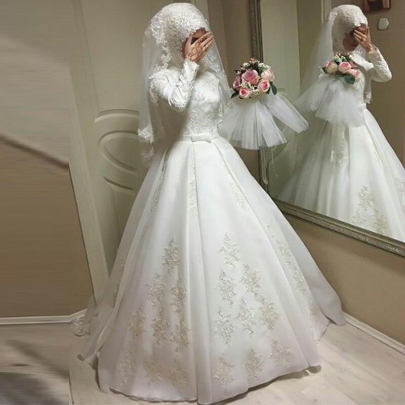 Long Sleeves Muslim Hijab Wedding Dresses Ball Gown Sweep Train Jewel Applique Floor-Length Arabic Vestido De Noiva Bride Dress