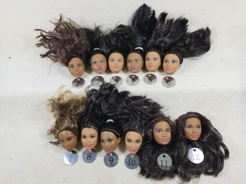 B28-1 Original Foreign Trade Western Asia Africa Beauty 1/6 OOAK NUDE Rarely Doll Head Mussed Black Hair For DIY Soft PVC Head