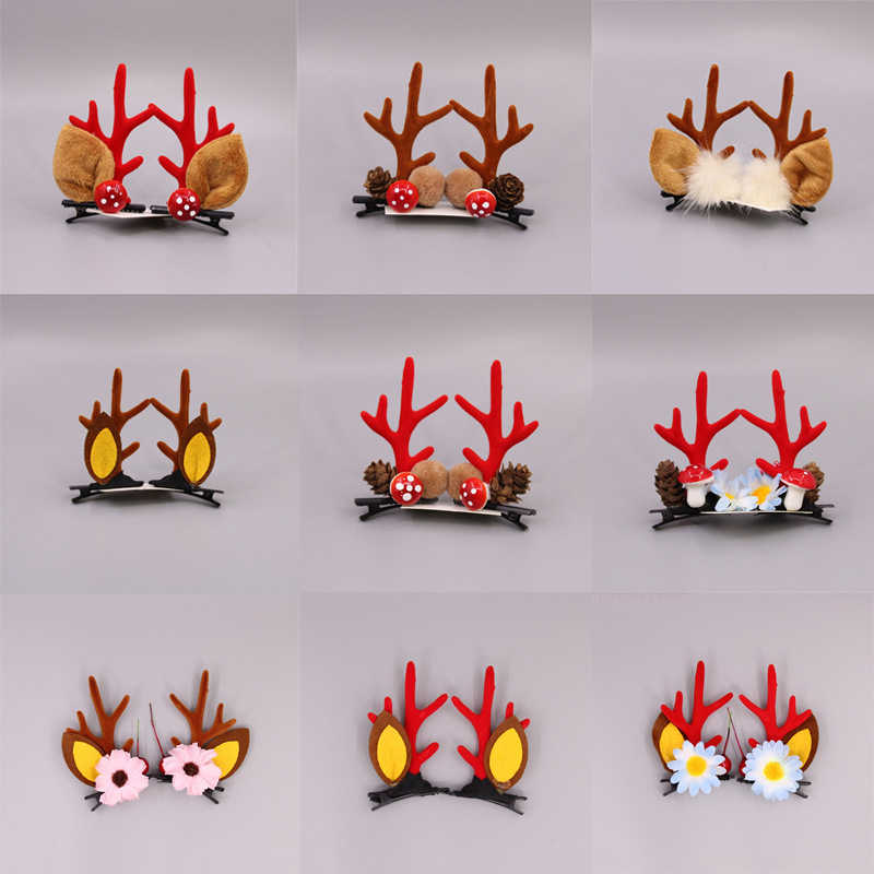 Christmas New Cute Antler Hair Clips Festival Style Red Antler Headband Moose Mushroom Forest Nut Hair Accessories Hairpins