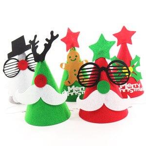 14x18.5cm DIY Felt Ornament Christmas Hat Santa Cap Snowman Christmas Shape for Kids Adults Ornaments Caps Party Decor Supplies