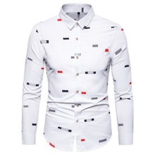 Long Sleeve Shirt Autumn New Mens Fashion Print Cotton Casual Slim Large Size S-5XL