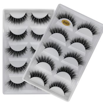 5 Pairs Multipack 3D miękkie norek włosy sztuczne rzęsy ręcznie delikatne puszyste długie rzęsy naturalne narzędzia do makijażu oczu Faux rzęs tanie i dobre opinie SHIDISHANGPIN Pasek rzęsy 1 cm-1 5 cm Pełna strip lashes Naturalne długie 13mm-15mm Hand made Fałszywe rzęs G5 series