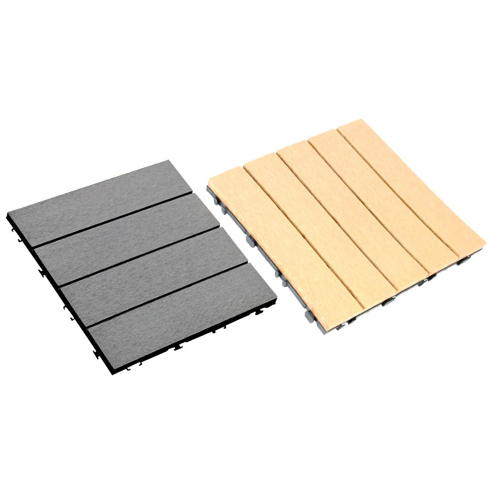 Interlocking Wood Flooring Deck Patio Tiles Solid Wood and Plastic Corner Edging Trim Tiles Indoor Outdoor Natural Wood image