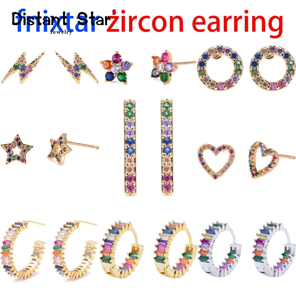 2pcs CZ stud earring rainbow gold heart letter earrings for women Korean earrings zirconia crystal charm jewelry gift