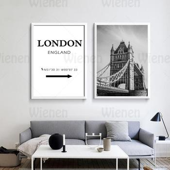 British Style Landscape Poster Wall Art London Bridge London Longitude and Latitude Canvas Painting Home Decoration Mural image